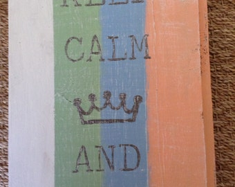 Keep Calm and Surf On Wood Sign
