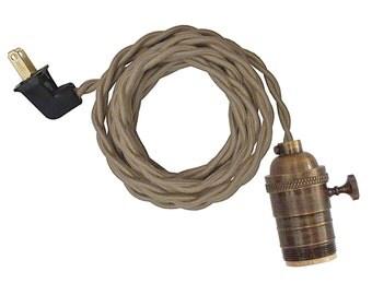 ANTIQUE BRASS  LAMP w/ turn-knob socket