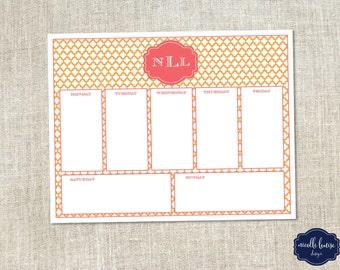 Monogrammed Printable Weekly Calendar