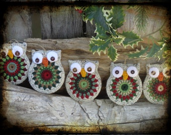 Set of 6, Owl Christmas Ornament, Primitive Decor, Holiday Gift Tag, Party Favor, OFG FAAP