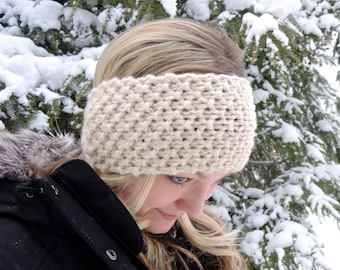 Extra wide headband chunky knit wool headband Hand knit headband, hand knit ear warmer hand knitted, bulky wool beige headband