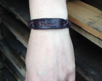 "Braided leather ""Friend"" bracelet Dark Mahogany"