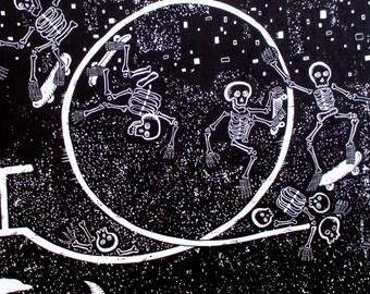 Fabric, Skeleton Skate Park in Black, Alexander Henry, One Yard or More