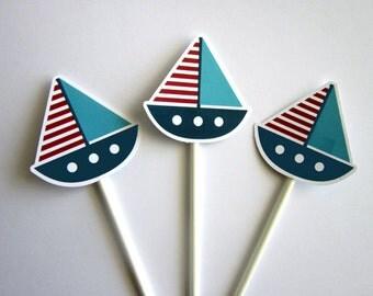 Nautical Cupcake Toppers - Nautical Sailboat Cupcake Toppers, Nautical Baby Shower, Nautical Birthday (322171229P)