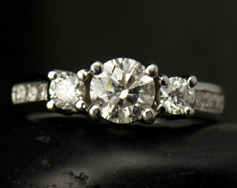 Nora - Moissanite and Diamond Engagement Ring in White Gold, 3-Stone Design with Channel Set Accent Stones, Free Shipping