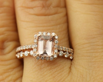 Emily & Brooke Set - Morganite and Diamond Halo Engagement Ring and Diamond Wedding Band in Rose Gold, Emerald Cut Center, Free Shipping