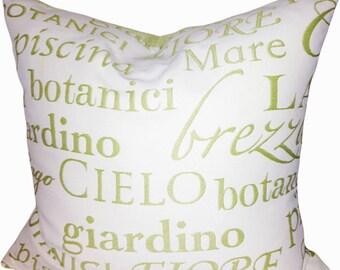 Bella Dura Outdoor Italian Script Throw Pillow Cover - Decorative Pillow - Toss Pillow - Accent Pillow - Solid Back - 16x16, 18x18