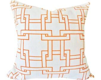 Thom Filicia Orange Geometric Pillow Cover - Decorative Pillow - Throw Pillow - Solid Cream Back - 12x20, 14x24, 16x16, 18x18, 20x20, 22x22