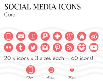 Social Media Icons Coral Pink Instant Download