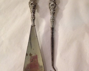 Antique sterling silver handled shoe horn and button hook
