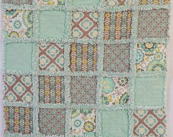 Rag Quilt for Baby - Aqua and Gray Floral Pattern