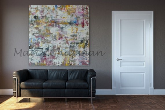 "Extra Large Painting 46"" x 46"" Modern Abstract XL, Large  Abstract Painting wall art home decor Modern colors wall art large decor"