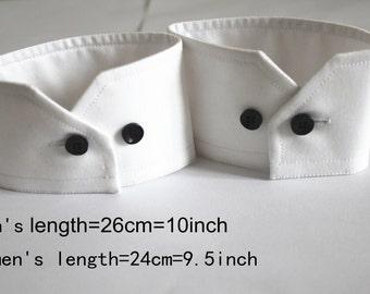 Women Men's Detachable Shirt Cuffs Regular White Black Free shipping