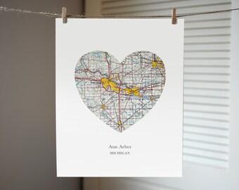 Ann Arbor Map Heart, Michigan Map Print, Ann Arbor Art, Michigan Art, Michigan Wedding Gift