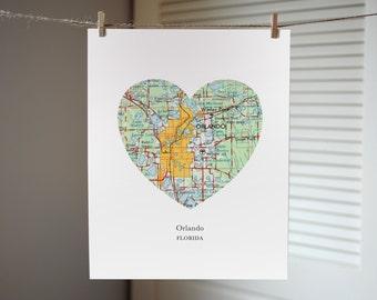 Orlando Florida Heart Map Print, Florida State Art, Custom City Map Print, Orlando Map Print
