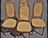 Four Thonet Bentwood Side Chair model no. 17, designed by Michael Thonet in the late 19th century