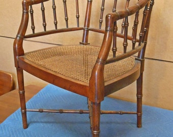 1970's Faux Bamboo Cane Barrel Chair (details to follow)