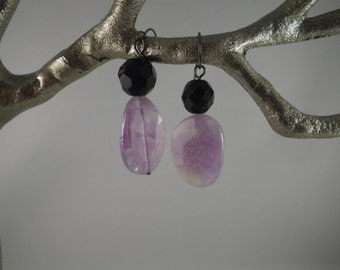 faceted amethyst,  faceted black onyx and oxidized black findings