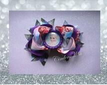 Frozen purple hair bow clip / Beautiful hair clip / Disney hair accessory / girls hair bow