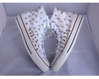 Spiked Converse / Customised Converse / Stud Converse / White Converse / Unique Converse / Hi top converse /