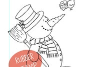 Snowman with Bird - Christmas - Rubberstamp - Unmounted