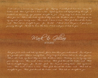 Bless the Broken Road by Rascal Flatts/ Wedding Song Lyrics Gift/ Gift from Groom to Bride/Gift from Bride to Groom/ First Dance - 8x10 +