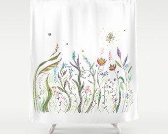 Floral Shower Curtain - La Primavera - Fabric - beautiful bathroom ideas, makeover, spring remodel, curtains, flowers, unique, extra long