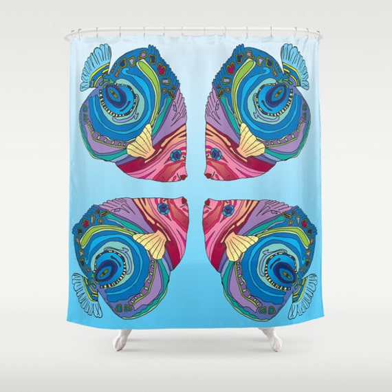 Items Similar To Fish Shower Curtain Colorful Coastal Fish Oh That Fish Ocean Theme