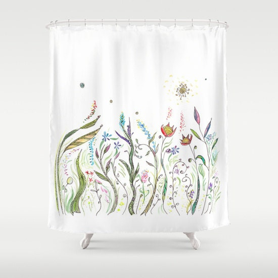 Floral Shower Curtain White With Flowers Fabric