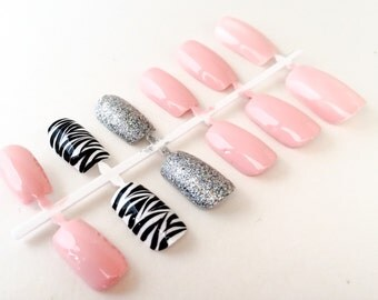 Pink Fake Nail Set - Glitter False Nails - Zebra Acylic Nails - Animal Print Artificial Nails - Press On Nail - Glue On Nail - Gifts For H
