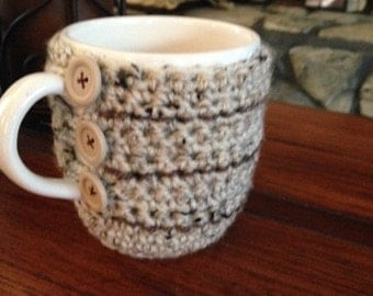 Cup Cozy crocheted in earth tones