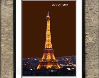 Paris France Skyline Art Print Poster A4 Size The Eiffel Tower