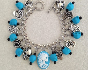 Blue Lolita Gothic Day of the Dead Dia De Los Muertos Charm Bracelet with Resin Cameo and Skull Beads