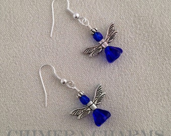 Christmas Angel Earrings in Silver with Cobalt Blue Czech Glass Beads
