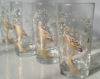 FREE SHIP Vintage Libbey Barware Tumblers Four Piece Highball Set White & Gold Partridge In A Pear Tree