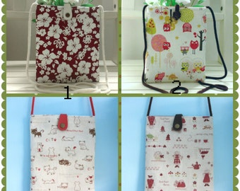 Kindle Sling Pouch, Pink Owl Sling Bag, Sling Pouch, Fabric Sling Bag