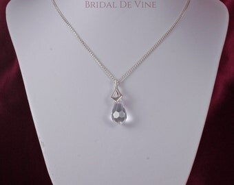 Bridal Sterling Silver Necklace Teardrop made with CRYSTALLIZED™ - Swarovski Elements