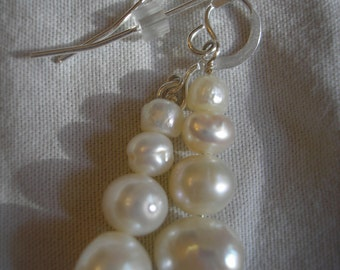 Graduated freshwater pearl and sterling silver dangle earrings