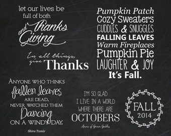 Fall Word Overlays - Autumn Photo Phrases Overlay - Text Photo Overlay - Digital PNG Quotes for Photo Words Phrase INSTANT DOWNLOAD