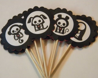 1 dozen Skeleanimals Party toppers Creepy Cute
