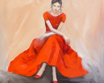 A Moment in Time - Large Fine Art Print of Original Oil Painting Woman in Red