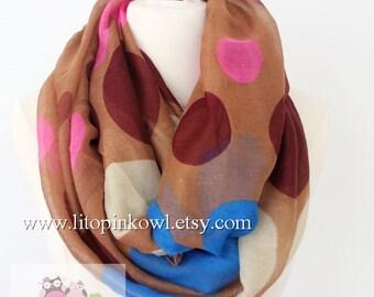 polka dot infinity scarf, loop scarf, circle scarf, women scarf, white scarf, large scarf, infinity loop scarf, animal print scarf, gift