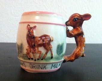 "Mid Century : Ceramic Children's Deer / Fawn Handled Mug ""Always Drink Milk""  (Japan)"