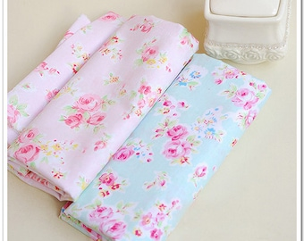 Pure Cotton Fabric Bayb Fabric Twill Fabric Blue and Pink Rose 62.9'' width 1 yard