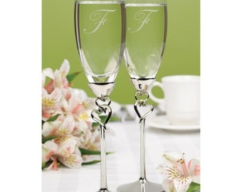 Personalized Wedding Flutes Champagne Entwined Hearts Toasting Glasses Ceremony Engraved