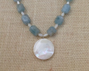 Mother of Pearl, Aquamarine Necklace with Mother of Pearl Disc Pendant