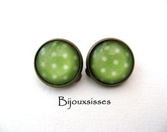 Lovely polka dots clip earrings ... CE073 - clip-on earrings - gift under 10