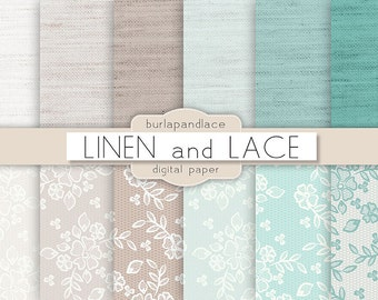 Digital paper: LINEN and LACE, tiffany blue, robins egg, lace, beige linen, lace, wedding digital paper, lace pattern