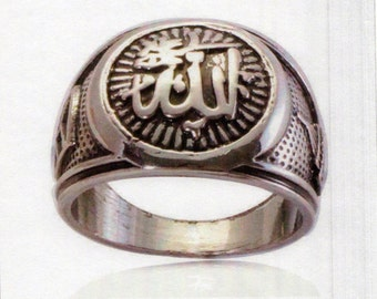 Antique silver plating muslim Allah ring