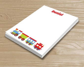 Personalized Kids' Notepad - Train Notepad for Boys - Train Note Pad - Custom Train Notepad with Name - 3 Sizes Available